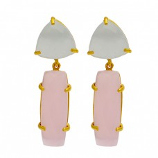 Prong Setting Moonstone Chalcedony 925 Sterling Silver Gold Plated Stud Dangle Earrings
