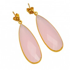 Pear Shape Rose Chalcedony Gemstone 925 Sterling Silver Gold Plated Dangle Earrings