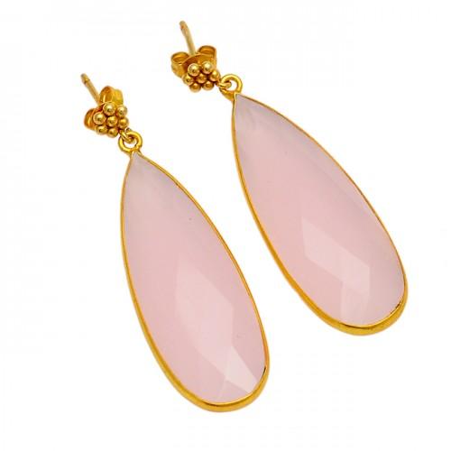 Pear Shape Rose Chalcedony Gemstone 925 Sterling Silver Gold Plated Dangle Earrings