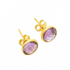 Amethyst Round Shape Gemstone 925 Sterling Silver Gold Plated Stud Earrings