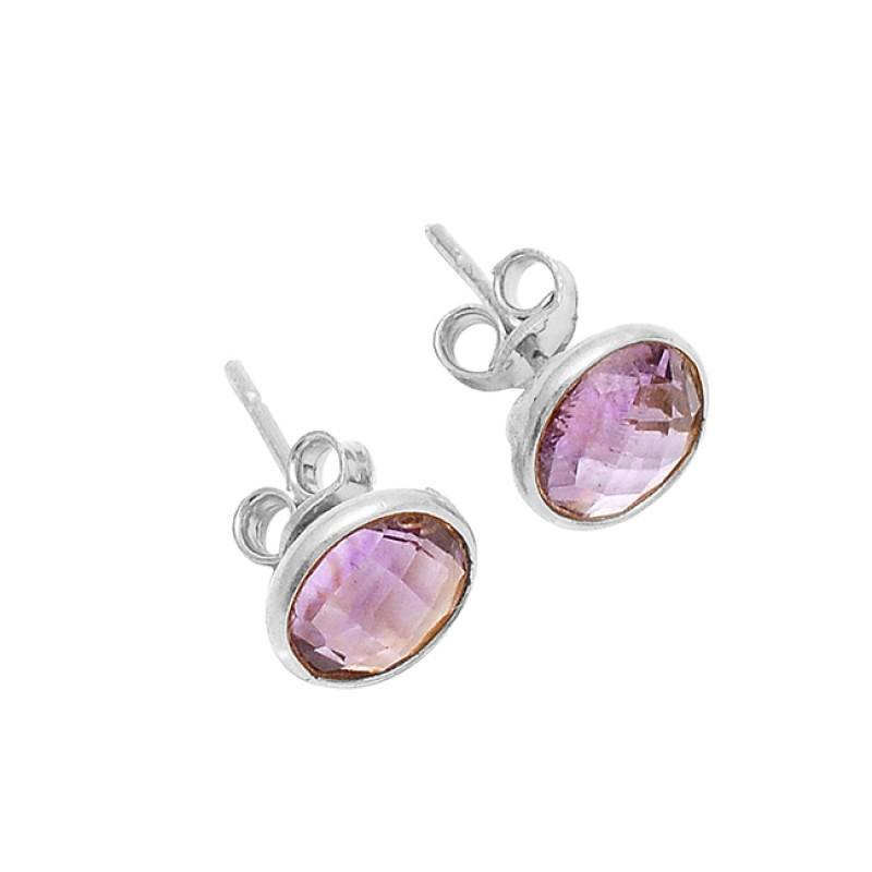 Amethyst Round Shape Gemstone 925 Sterling Silver Gold Plated Stud Earrings