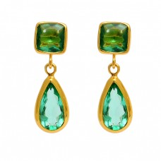 Green Apatite Cushion Pear Shape Gemstone 925 Sterling Silver Gold Plated Stud Earrings