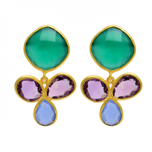 Green Onyx Amethyst Blue Quartz Gemstone 925 Sterling Silver Gold Plated Stud Earrings