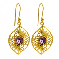 Amethyst Round Shape Gemstone Filigree Designer Gold Plated Dangle Earrings