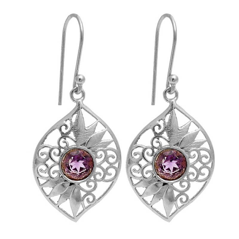 Amethyst Round Shape Gemstone Filigree Designer Gold Plated Dangle Earrings
