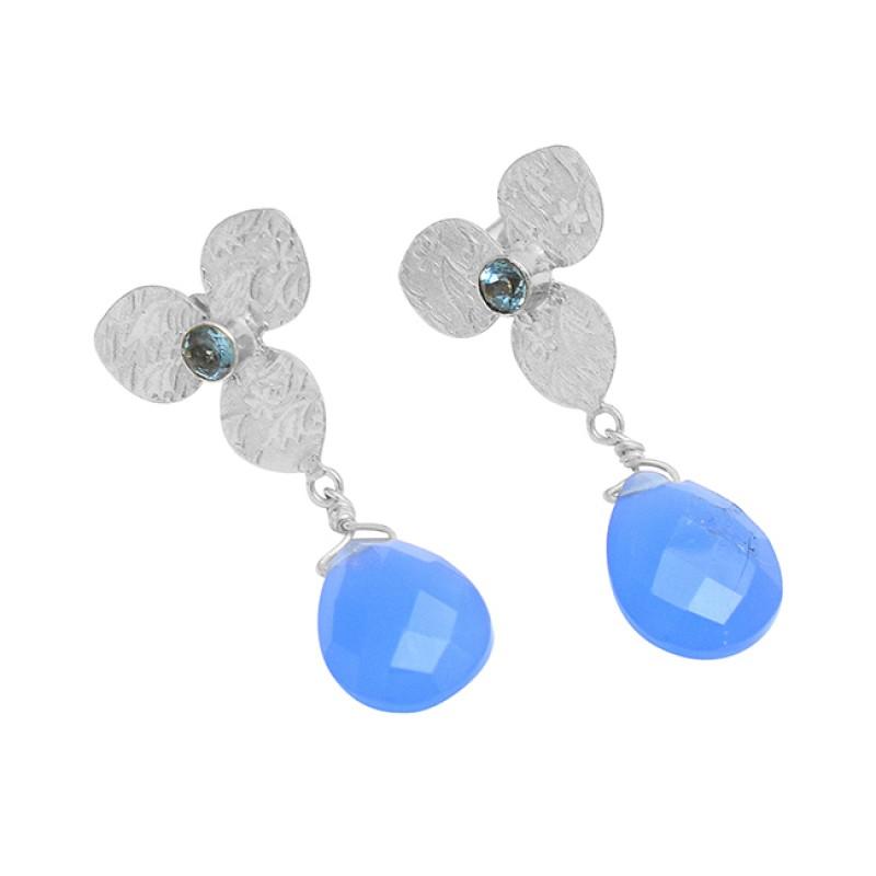 Flower Shape Handmade Designer 925 Sterling Silver Gold Plated Dangle Stud Earrings