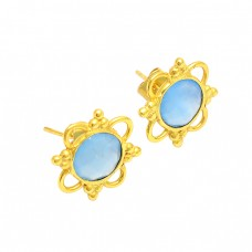 Blue Topaz Oval Shape Gemstone 925 Silver Gold Plated Handmade Stud Earrings