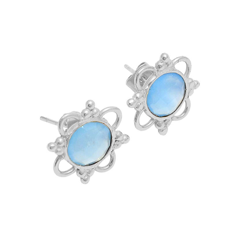 Blue Topaz Oval Shape Gemstone 925 Silver Gold Plated Handmade Stud Earrings