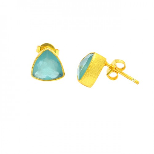 Aqua Chalcedony Triangle Shape Gemstone 925 Sterling Silver Gold Plated Stud Earrings