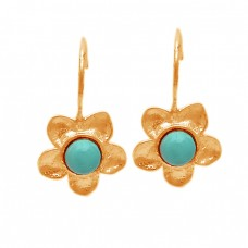 Cabochon Round Turquoise Gemstone 925 Sterling Silver Flower Designer Earrings