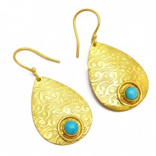 Round Cabochon Turquoise Gemstone 925 Sterling Silver Gold Plated Dangle Earrings