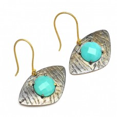 Round Shape Turquoise Gemstone 925 Sterling Silver Black Rhodium Dangle Earrings