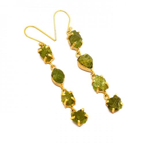 Peridot Rough Gemstone 925 Sterling Silver Gold Plated Handmade Dangle Earrings