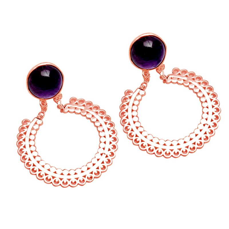 Amethyst Round Shape Gemstone 925 Sterling Silver Handcrafted Designer Stue Earrings