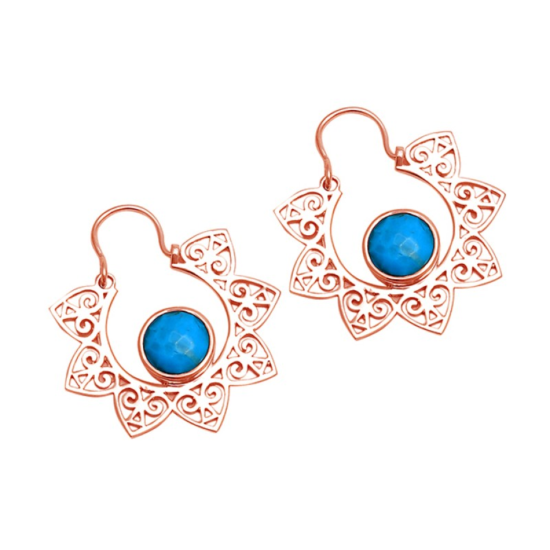 925 Sterling Silver Round Shape Turquoise Gemstone New Stylish Hoop Earrings