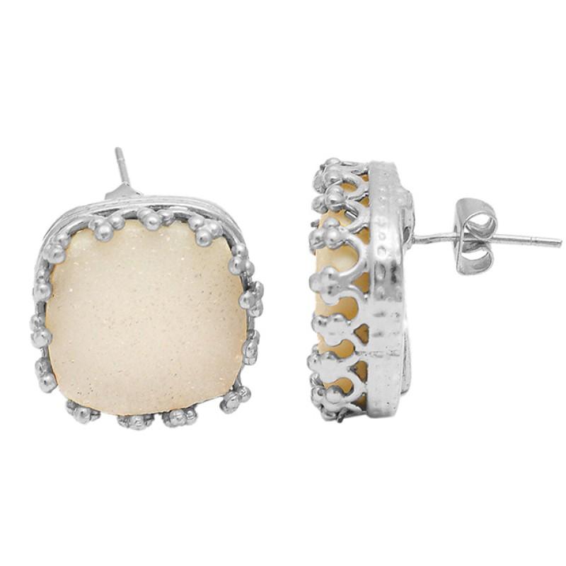Rainbow Moonstone Cushion Shape Gemstone 925 Sterling Silver Stud Earrings