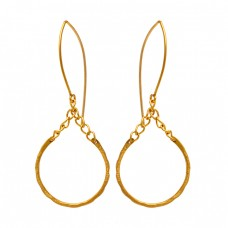 925 Sterling Silver Plain Handmade Designer Gold Plated Dangle Hoop Earrings