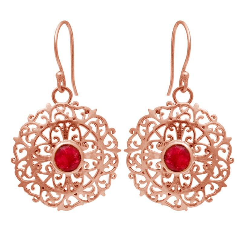 Round Shape Garnet Gemstone Stylish Designer Gold Plated Dangle Earrings