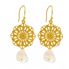 Herkimer Diamond Rough Gemstone 925 Sterling Silver Gold Plated Filigree Designer Earrings