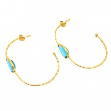 925 Sterling Silver Blue Topaz Pear Shape Gemstone Gold Plated Hoop Earrings