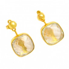 925 Sterling Silver Citrine Cushion Shape Gemstone Gold Plated Stud Dangle Earrings