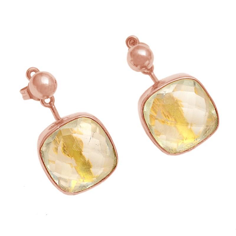 925 Sterling Silver Citrine Cushion Shape Gemstone Gold Plated Stud Dangle Earrings