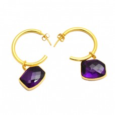 Hexagon Shape Amethyst Gemstone 925 Sterling Silver Gold Plated Dangle Hoop Earrings