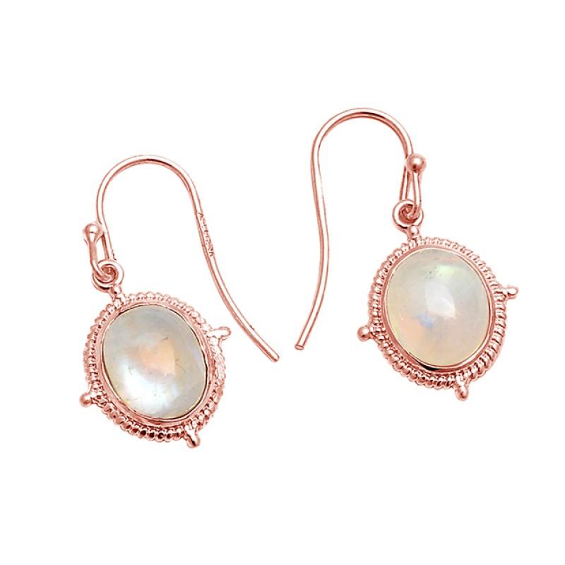 Oval Cabochon Moonstone 925 Sterling Silver Designer Dangle Earrings