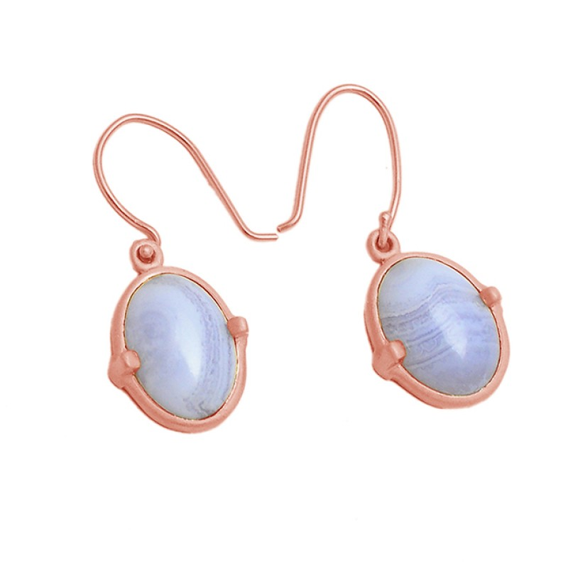 Oval Cabochon Blue Lace Agate Gemstone 925 Sterling Silver Gold Plated Dangle Earrings
