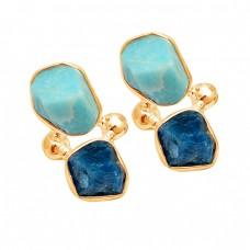 Larimar Apatite Rough Gemstone 925 Sterling Silver Handmade Stud Dangle Earrings