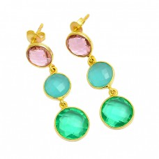 Briolette Round Shape Gemstone 925 Sterling Silver Gold Plated Dangle Stud Earrings