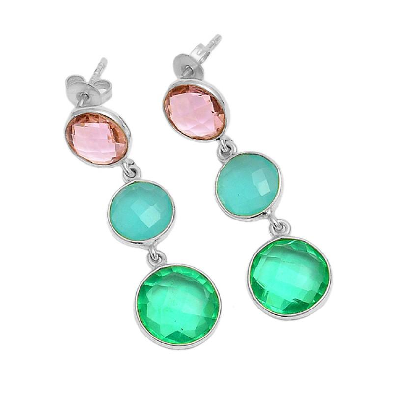 Briolette Round Shape Gemstone 925 Sterling Silver Gold Plated Dangle Stud Earrings