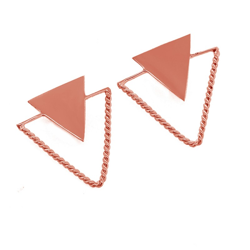Triangle Shape Designer Plain 925 Sterling Silver Gold Plated Stud Earrings