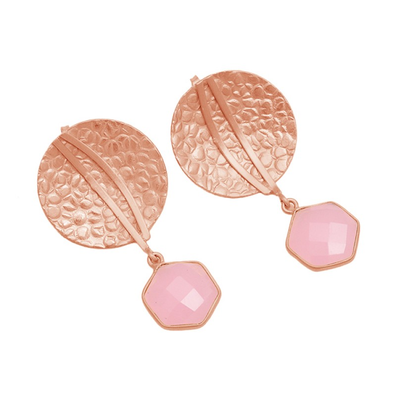 925 Sterling Silver Rose Chalcedony Gemstone Gold Plated Hammered Designer Earrings