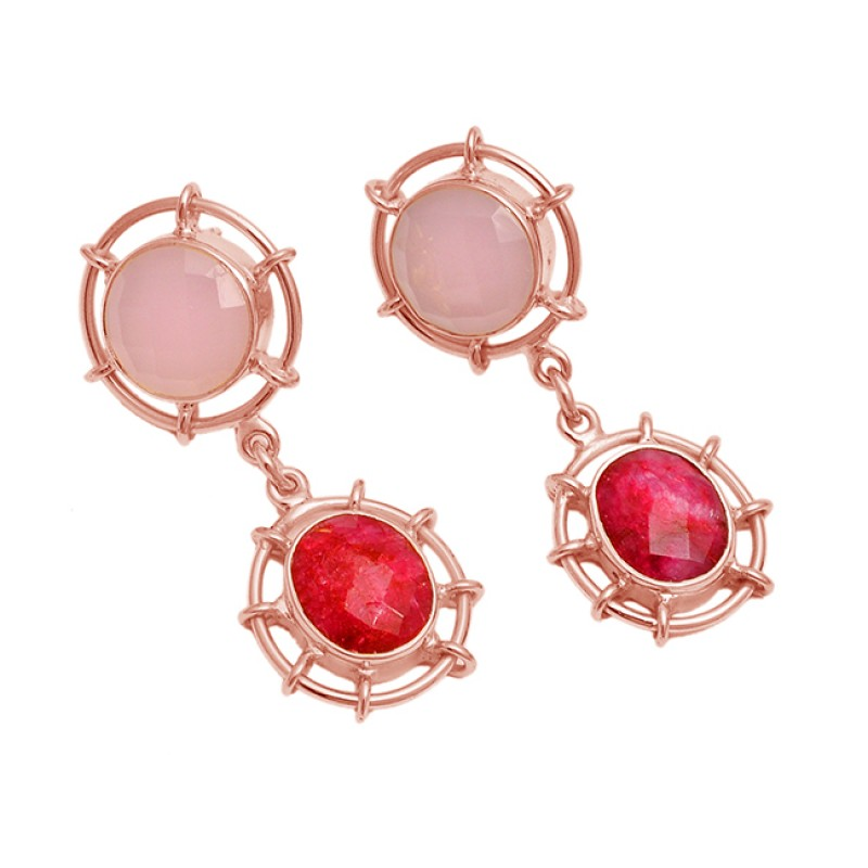 925 Sterling Silver Ruby Chalcedony Gemstone Gold Plated Dangle Stud Earrings