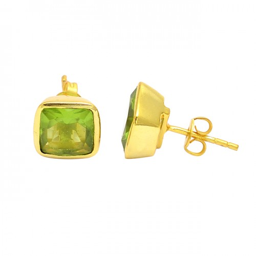 925 Sterling Silver Peridot Cushion Shape Gemstone Gold Plated Stud Earrings
