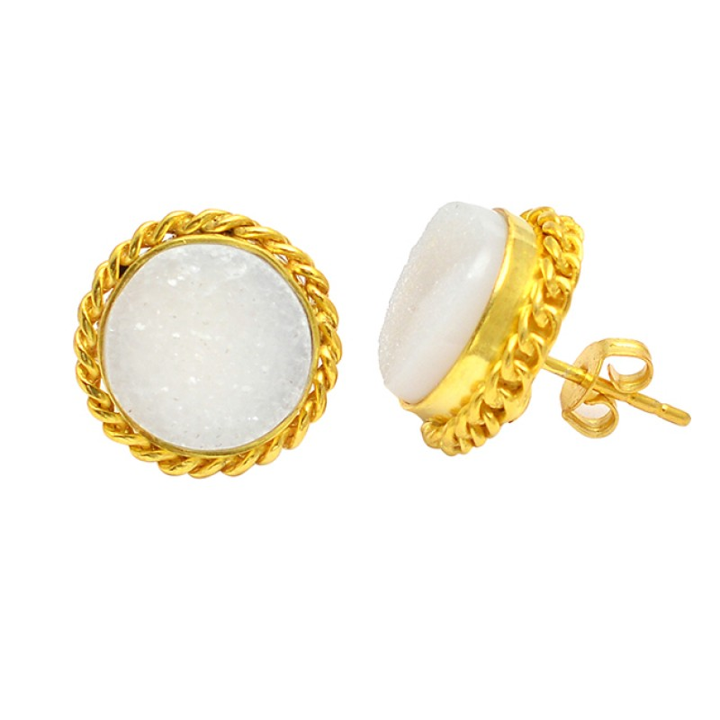 Round Shape White Druzy Gemstone Fashionable 925 Silver Gold Plated Stud Earrings