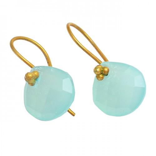 Heart Shape Aqua Chalcedony Gemstone 925 Sterling Silver Gold Plated Earrings
