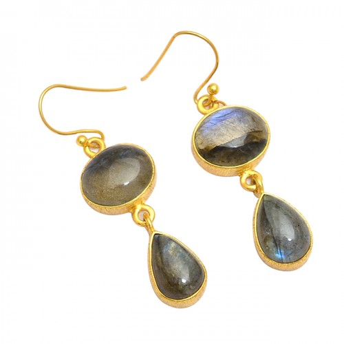 Cabochon Pear Oval Labradorite Gemstone 925 Sterling Silver Gold Plated Earrings