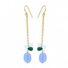 Pear Drops Oval Shape Chalcedony Onyx Gemstone 925 Silver Gold Plated Chain Earrings