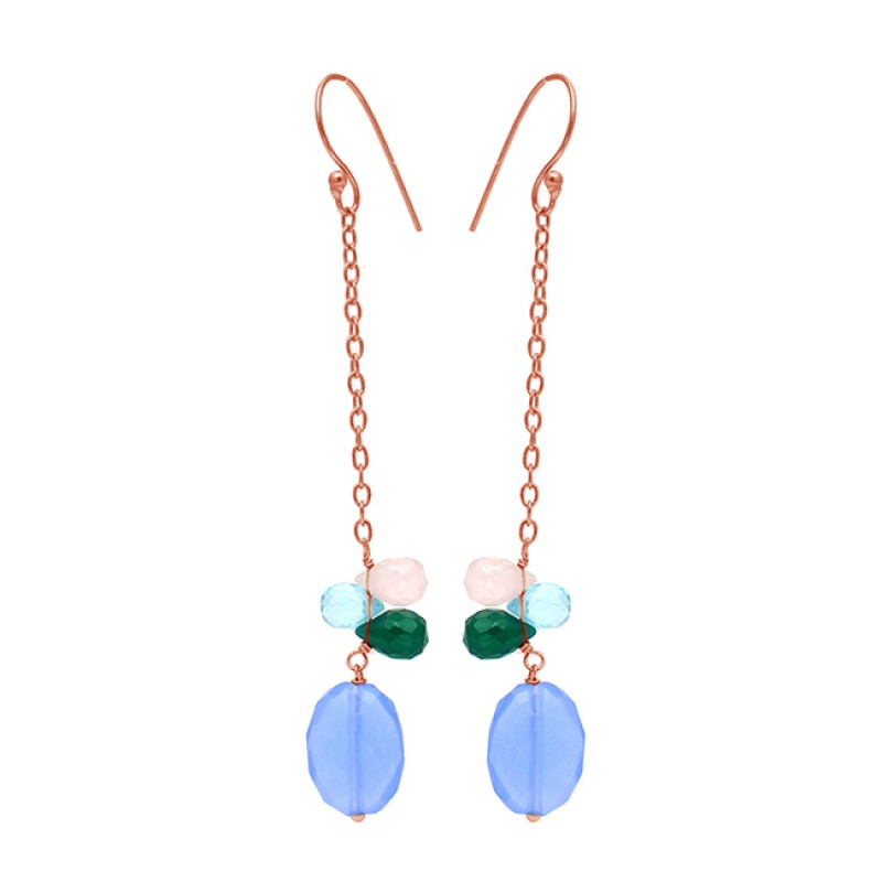 Pear Drops Oval Shape Chalcedony Onyx Gemstone 925 Silver Gold Plated Chain Earrings