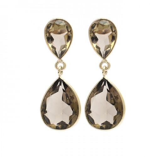Pear Shape Smoky Quartz Gemstone 925 Sterling Silver Gold Plated Stud Dangle Earrings