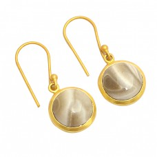 Round Cabochon Flint Gemstone 925 Sterling Silver Gold Plated Dangle Earrings