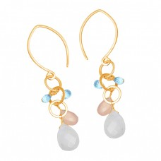 Moonstone Chalcedony Topaz Gemstone 925 Sterling Silver Dangle Hoop Earrings