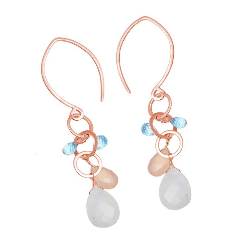 Moonstone Chalcedony Topaz Gemstone 925 Sterling Silver Dangle Hoop Earrings