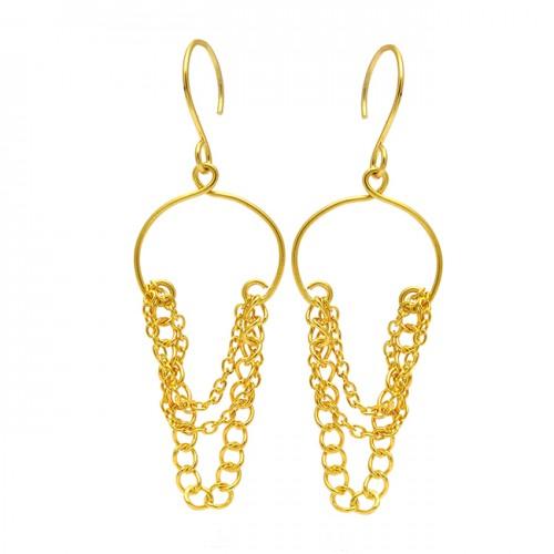 925 Sterling Silver Plain Handmade Gold Plaated Chain Dangle Earrings
