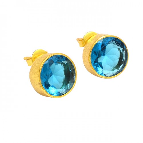 Faceted Round Shape Blue Topaz Gemstone 925 Sterling Silver Gold Plated Stud Earrings