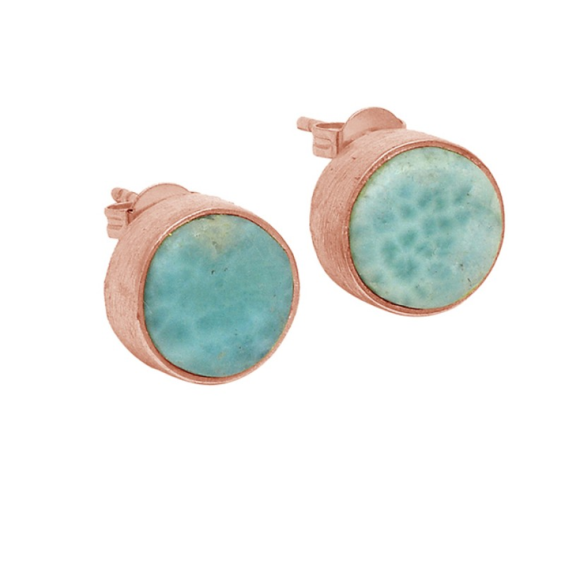 Larimar Round Cabochon Gemstone 925 Sterling Silver Gold Plated Stud Earrings