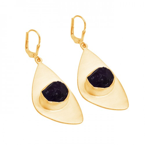 Raw Material Amethyst Rough Gemstone 925 Sterling Silver Dangle Earrings