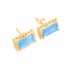 Rectangle Shape Blue Quartz Gemstone Handmade 925 Sterling Silver Stud Earrings
